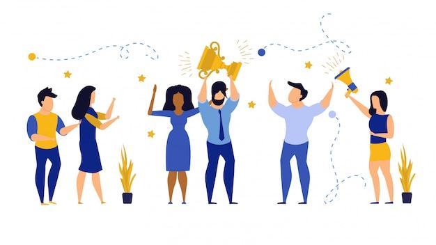 Ludzie biznesu zwycięzcy nagrody klienta wektorowego ilustracyjnego pracownika.