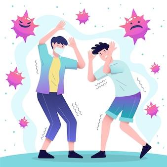 Ludzie boją się ilustracji choroby koronawirusa
