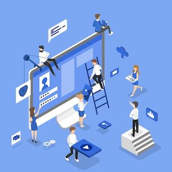 Ludzie budujący witrynę internetową
