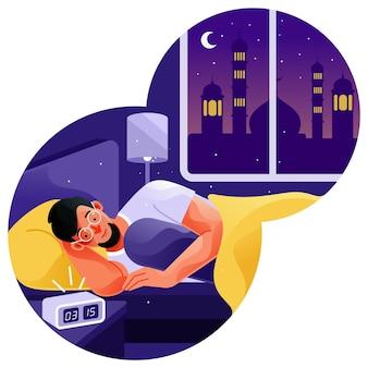 Ludzie budzą się ze snu, aby zrobić suhur lub sahur
