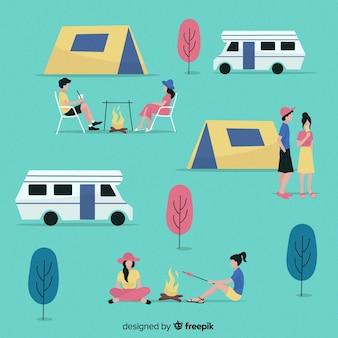 Ludzie camping kolekcja płaski kształt