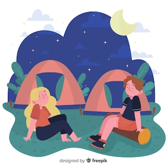 Ludzie camping ręcznie rysowane stylu