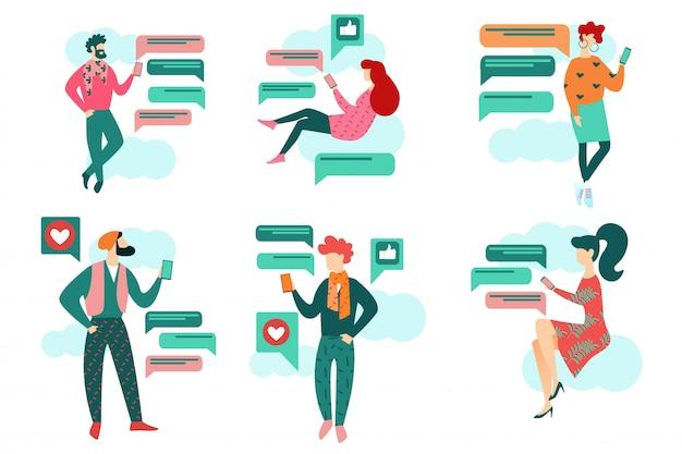 Ludzie cartoon trzymaj smartphone social media chat