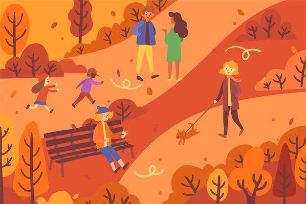 Ludzie chodzą jesienią
