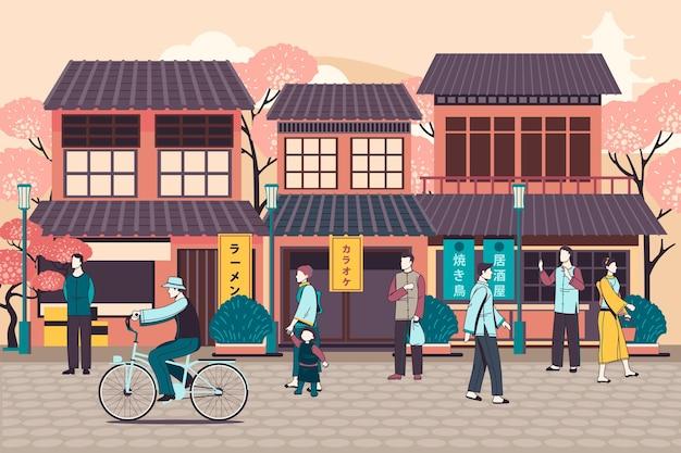Ludzie chodzą po japońskiej ulicy
