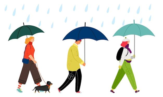 Ludzie chodzą w deszczu. jesienna pogoda, mężczyzna kobieta z ilustracji wektorowych parasol