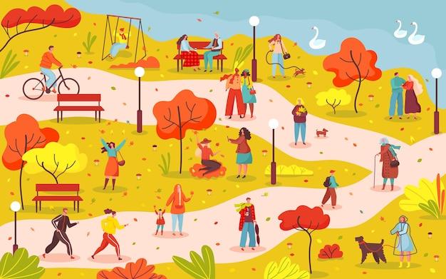 Ludzie chodzą w jesiennym parku miejskim, pozbywają się rowerów i spacerowych psów, spędzają czas na świeżym powietrzu w jesiennej scenie wektorowej parku