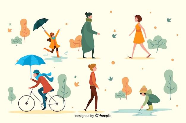 Ludzie chodzą w parku jesień płaski kształt