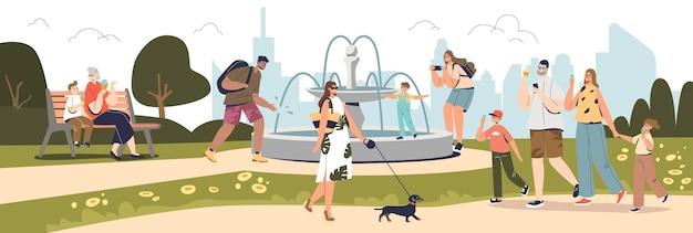 Ludzie chodzą w parku lato z fontanną na panoramę budynków miasta. szczęśliwe dzieci i dorośli, rodziny spędzają czas na świeżym powietrzu, jedząc razem lody. ilustracja kreskówka płaski wektor