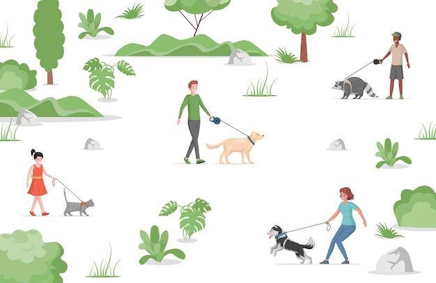 Ludzie chodzą w parku miejskim z płaską ilustracją zwierząt domowych.