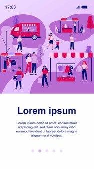 Ludzie chodzą w parku podczas ilustracji sprzedaży garażu. kreskówka mężczyzna i kobieta oraz pchli targ sezon uliczny. koncepcja targów społecznościowych i letnich