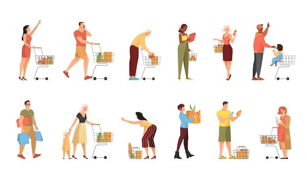 Ludzie chodzą z koszykiem w zestawie supermarketu. postać z koszem w sklepie. ilustracja