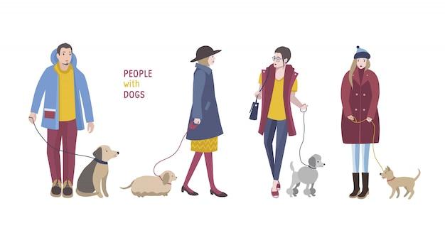 Ludzie chodzą z psami. kolorowa płaska ilustracja.