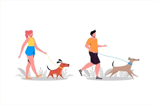 Ludzie chodzą z psem koncepcji