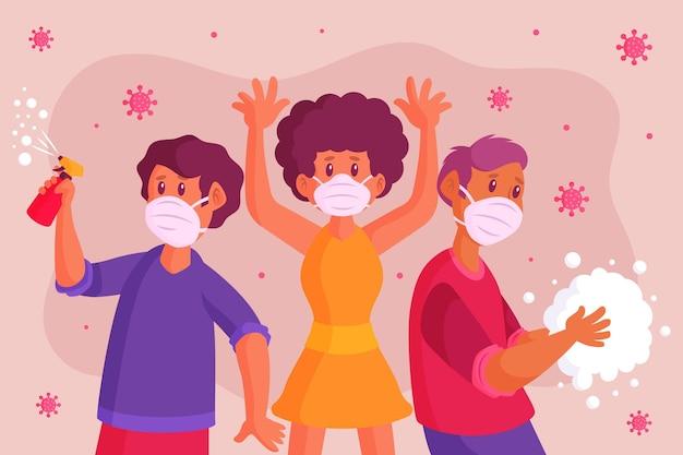 Ludzie chronią się przed koronawirusem
