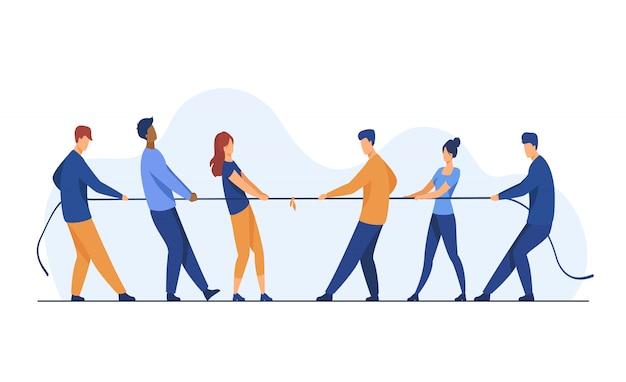 Ludzie ciągnie przeciwne końce linowa płaska ilustracja