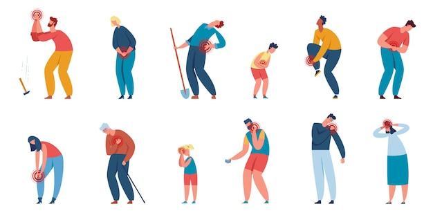 Ludzie cierpiący, postacie cierpiące na różne bóle ciała. mężczyźni i kobiety z bólem mięśni lub stawów spowodowanym przez urazy lub choroby wektor zestaw. uraz pleców, ramion, klatki piersiowej i nóg