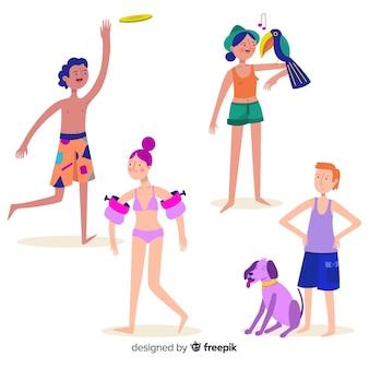 Ludzie cieszą się latem na plaży