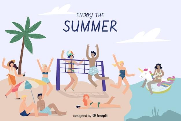 Ludzie cieszą się latem