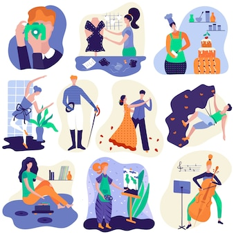 Ludzie cieszy się hobby, postać z kreskówki ilustracyjni