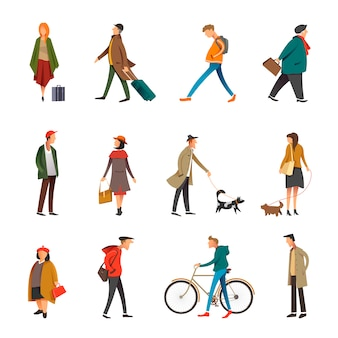 Ludzie codziennego życia na świeżym powietrzu w ubranie wektor płaski zestaw znaków