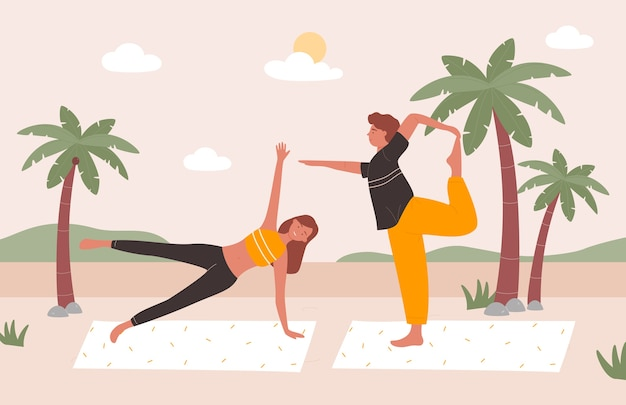 Ludzie ćwiczą jogę na plaży ilustracji wektorowych, kreskówka szczęśliwa młoda rodzina lub para znaków robi ćwiczenia jogi razem, trening zdrowia ciała