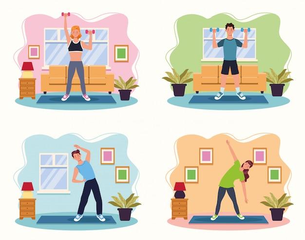 Ludzie ćwiczy ćwiczenie w domowym wektorowym ilustracyjnym projekcie