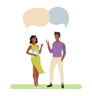 Ludzie czat grupowy bańka para kadry współpracownicy. omawianie komunikacji społecznej
