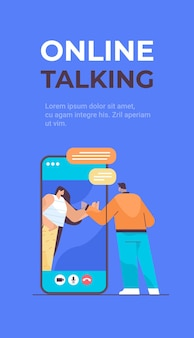 Ludzie czatują podczas rozmowy wideo w sieci społecznościowej czat bańka komunikacja online rozmowa koncepcja pionowa pełna długość kopia przestrzeń ilustracji wektorowych