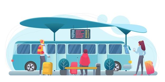 Ludzie czekają ilustracja płaski autobus. pasażerowie na stacji postaci z kreskówek. turyści z walizkami na peronie. podróżni i komunikacja miejska. wakacje, wycieczka, podróż