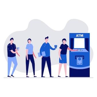 Ludzie czekają w kolejce w pobliżu bankomatu. kolejka do bankomatu.