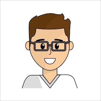 Ludzie, człowiek szczęśliwy twarz z ikona okulary