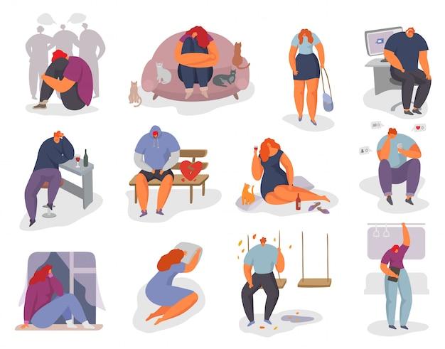 Ludzie czują się samotny zestaw ilustracji, kobieta mężczyzna charakter siedzi sam i uczucie stres emocji, depresja, na białym tle