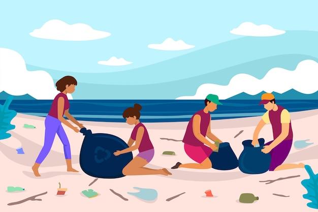 Ludzie czyści plażową ilustrację