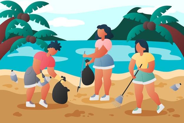 Ludzie czyści plażowego ilustracyjnego pojęcie