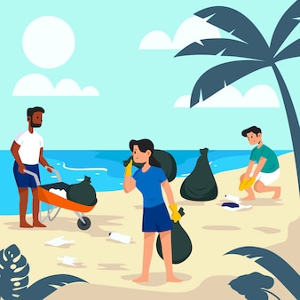 Ludzie czyści plażowego ilustracyjnego projekt