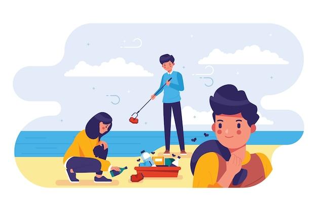 Ludzie czyszczenia koncepcji plaży