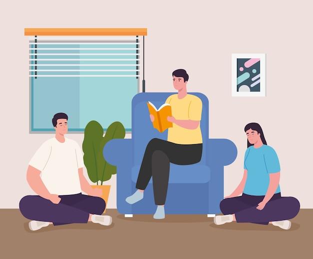 Ludzie czytający książkę w domu projektowanie aktywności i wypoczynku