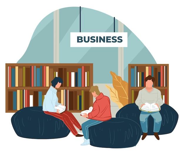 Ludzie czytający literaturę biznesową w księgarni lub dziale biblioteki. postacie siedzące na pufach cieszą się publikacją o samokształceniu i rozwoju osobowości. wektor w stylu płaskiej