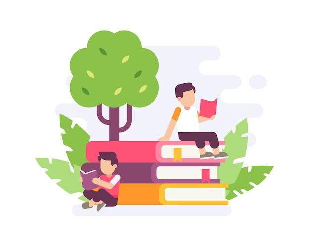 Ludzie czytający na dużym stosie książki