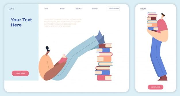 Ludzie czytający, stos książek, studenci w bibliotece, miłośnicy literatury. postaci z kreskówek mężczyzna i kobieta. strona docelowa, aplikacja. płaska ilustracja.