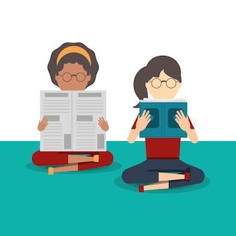 Ludzie, czytanie książki i wektor ikona newspape