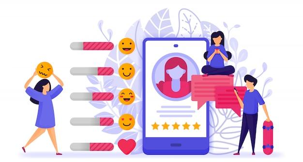 Ludzie dają oceny i opinie na temat profilu influencerów.