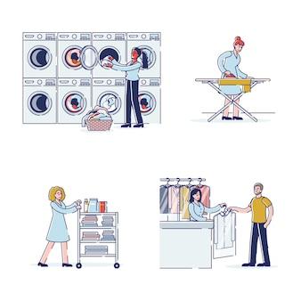 Ludzie dając pralni chemicznej i rzeczy w pralni