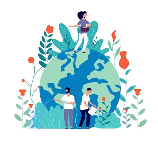 Ludzie dbają o ziemię. wolontariusze sprzątają zieloną planetę