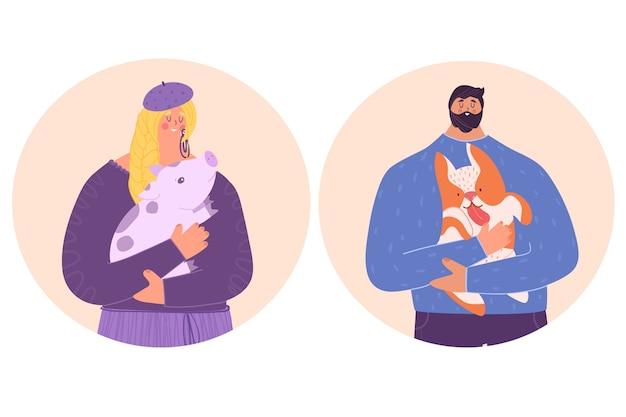 Ludzie dbają o zwierzęta. kobieta trzyma w ramionach małą świnię. mężczyzna trzyma w ramionach psa.