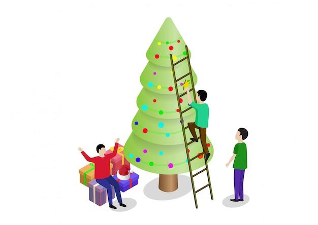 Ludzie dekorują choinkę i wspólnie przygotowują pudełka na prezenty. można używać do banerów internetowych, infografik, obrazów bohaterów.