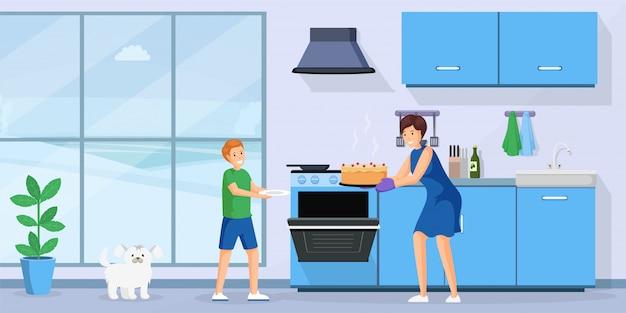 Ludzie do pieczenia ciasta płaski ilustracja.