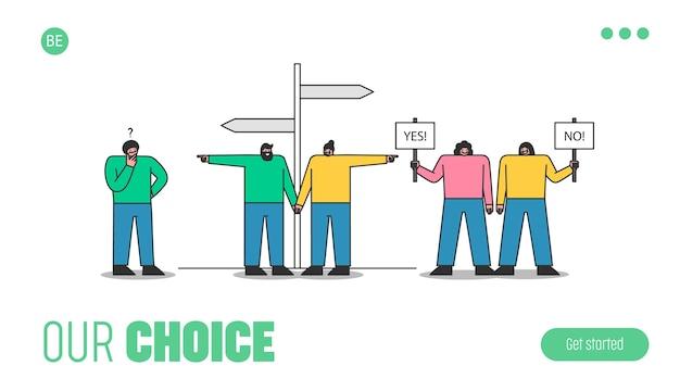 Ludzie dokonujący wyborów. szablon strony docelowej z kreskówkami wybierającymi sposób i kierunek, mężczyzna zastanawia się nad pomysłem lub rozwiązaniem, kobiety mają znaki nie i tak