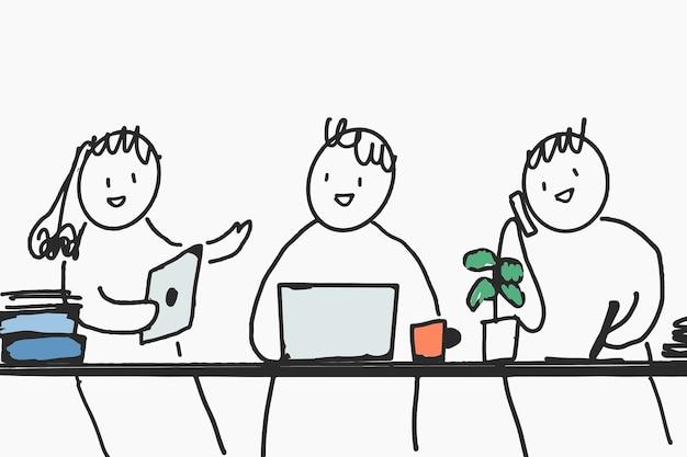 Ludzie doodle wektor szczęśliwych pracowników w zielonych znaków biurowych